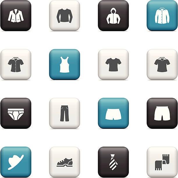 men clothing buttons - preppy fashion stock illustrations, clip art, cartoons, & icons