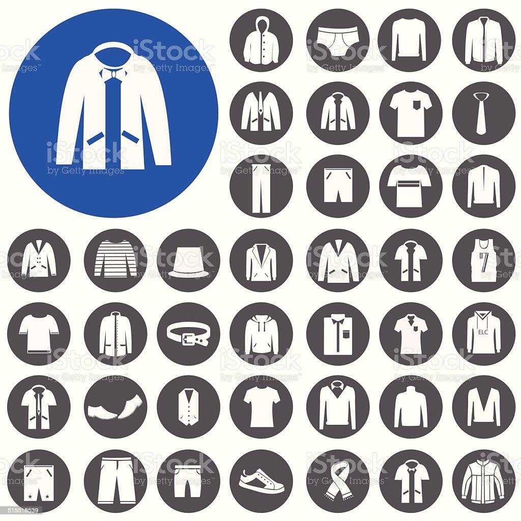 Herrenkleidung fashion item icons set.  Illustration eps10 – Vektorgrafik