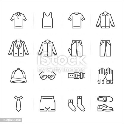Men Clothing icons with White Background