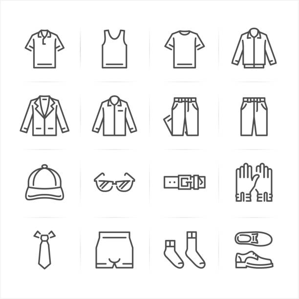 stockillustraties, clipart, cartoons en iconen met mannen kleding van pictogrammen - hemden en shirts