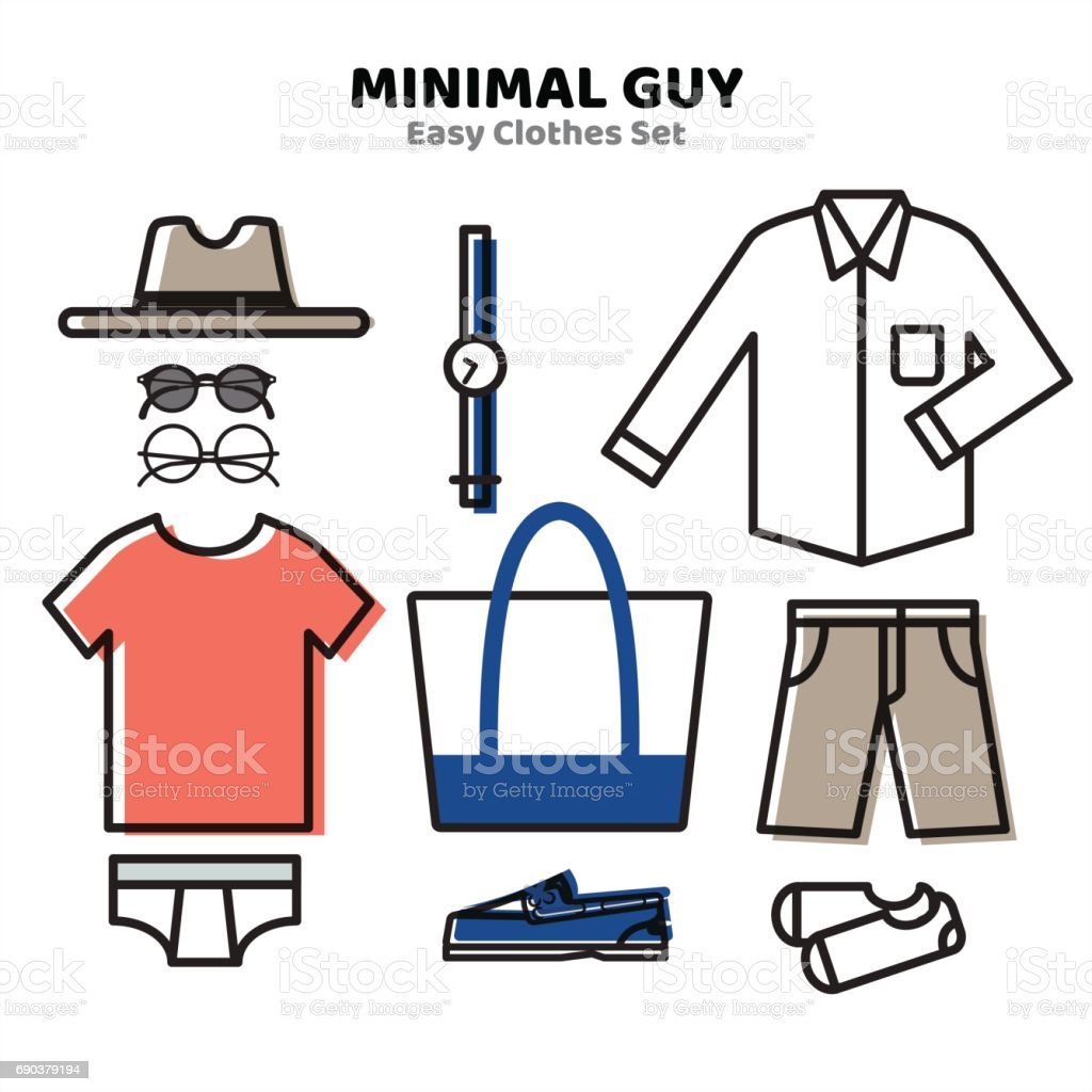 Men Clothing, Minimal Outfit Style for Summer vector art illustration