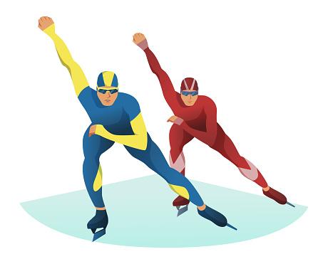 Men competing on short track. Athletes speed ice skating