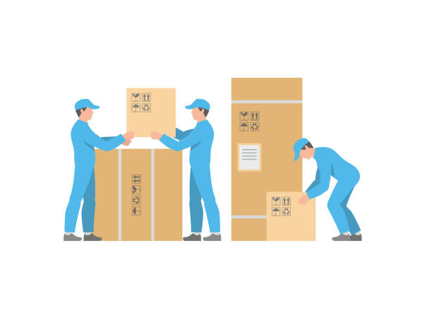 stockillustraties, clipart, cartoons en iconen met mannen delivery service met dozen - warehouse worker