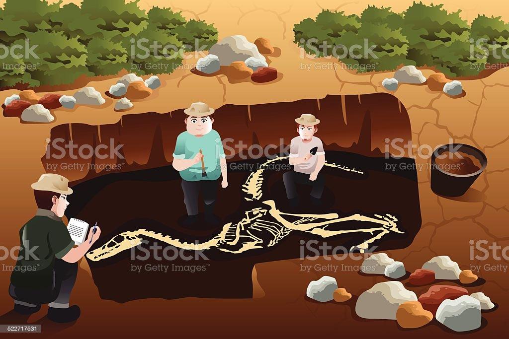 Men discovering a dinosaurs fossil vector art illustration