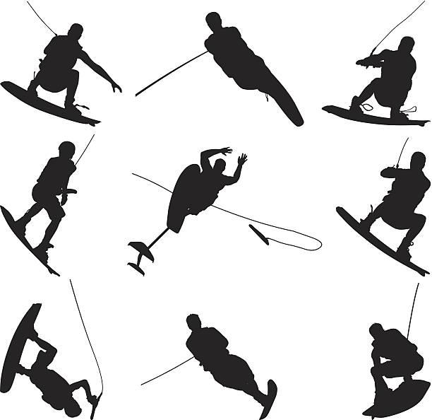 Men doing awesome tricks while wake boarding vector art illustration
