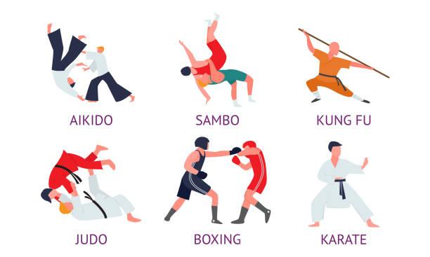 illustrazioni stock, clip art, cartoni animati e icone di tendenza di uomini che fanno diversi tipi di arti marziali asiatiche con titoli - box name