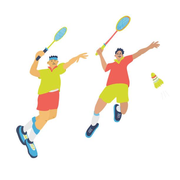 men doubles badminton game. - badminton smash stock illustrations