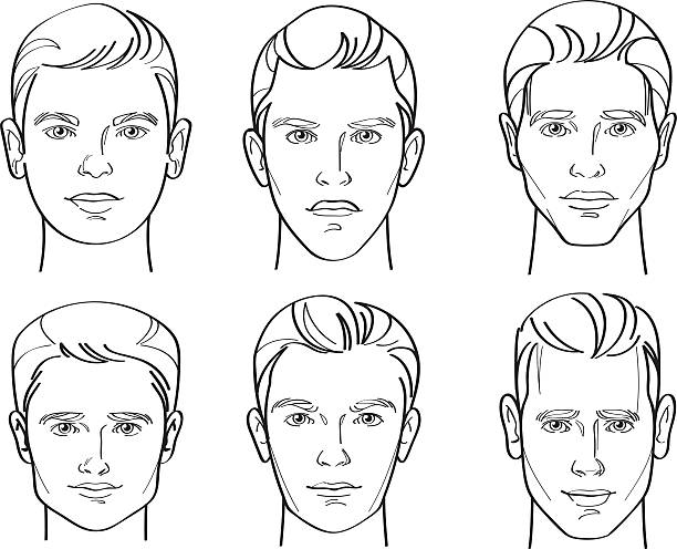 bildbanksillustrationer, clip art samt tecknat material och ikoner med men face shape line drawing illustration - endast män