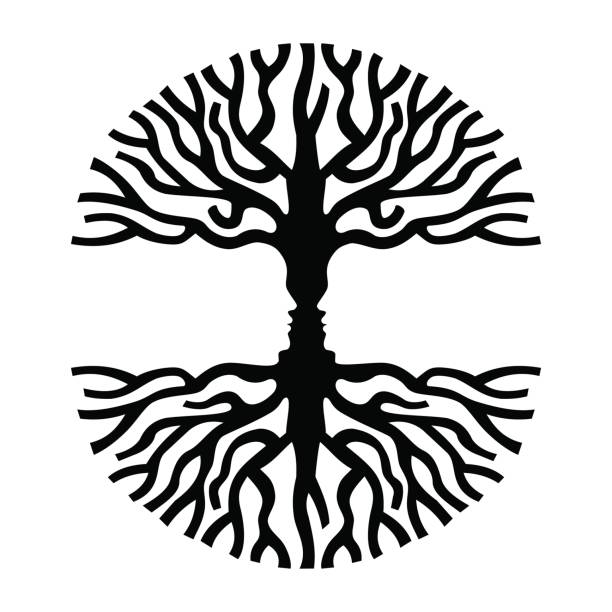 Men Faces In Tree Silhouette Optic Art Symbol Vector Illustration