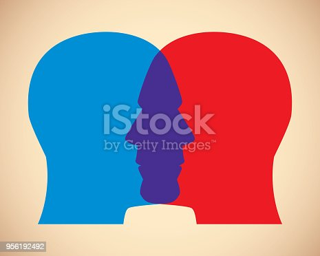 Vector illustration of two men's red and blue overlapping faces against a tan background.