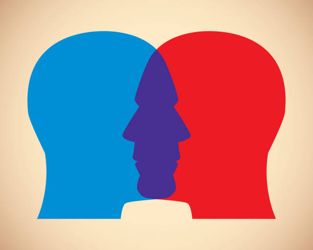 Men Faces Overlapping Vector illustration of two men's red and blue overlapping faces against a tan background. two people stock illustrations