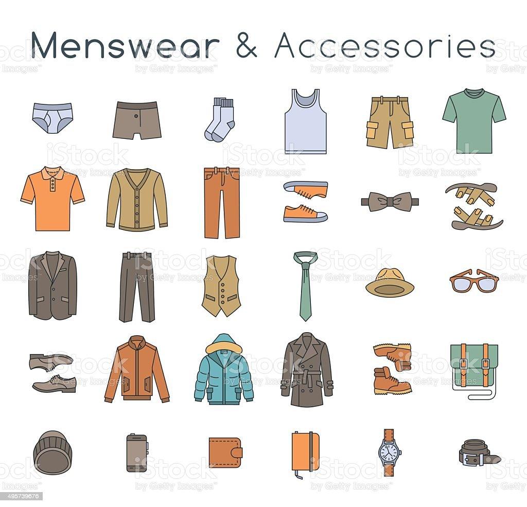 bdd1bf8c75d4 Uomo moda abiti e accessori piatto linea icone vettoriali colorati uomo moda  abiti e accessori piatto