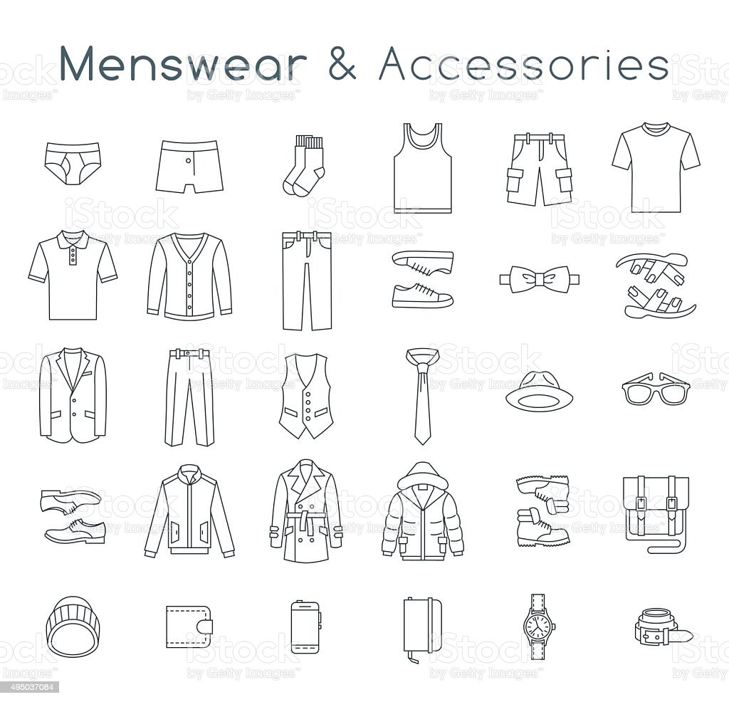 Men fashion clothes and accessories flat line vector icons vector art illustration
