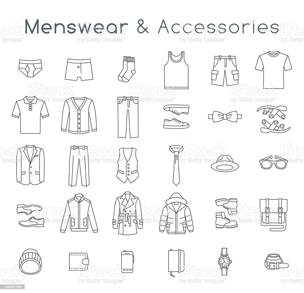 Hombres de moda ropa y accesorios de vector iconos de línea plana - ilustración de arte vectorial