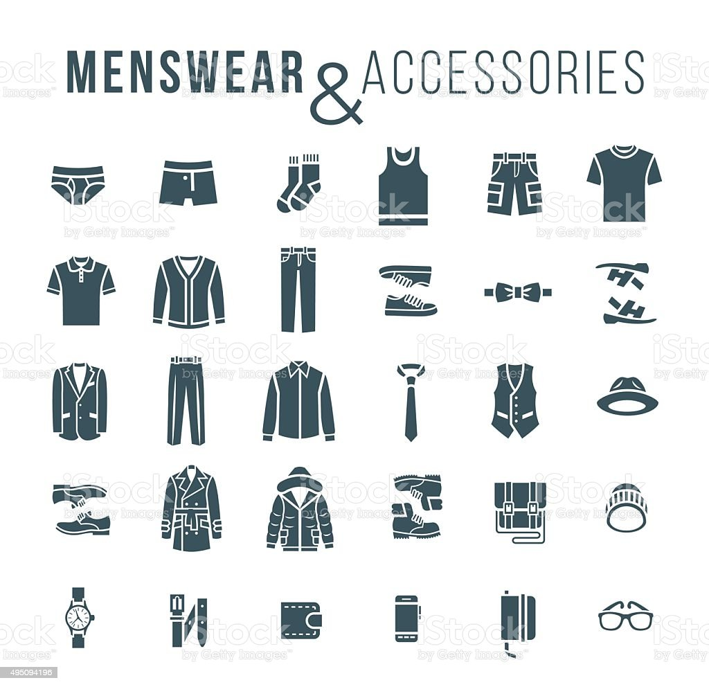 Men fashion clothes and accessories flat outline vector icons vector art illustration