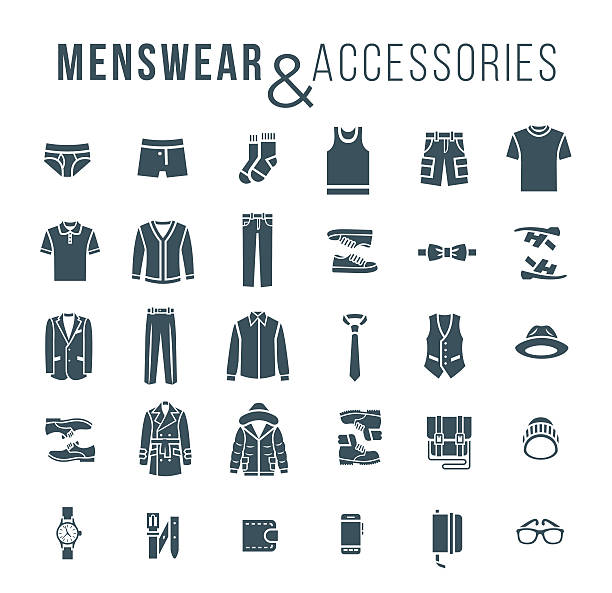 men fashion clothes and accessories flat outline vector icons - preppy fashion stock illustrations, clip art, cartoons, & icons