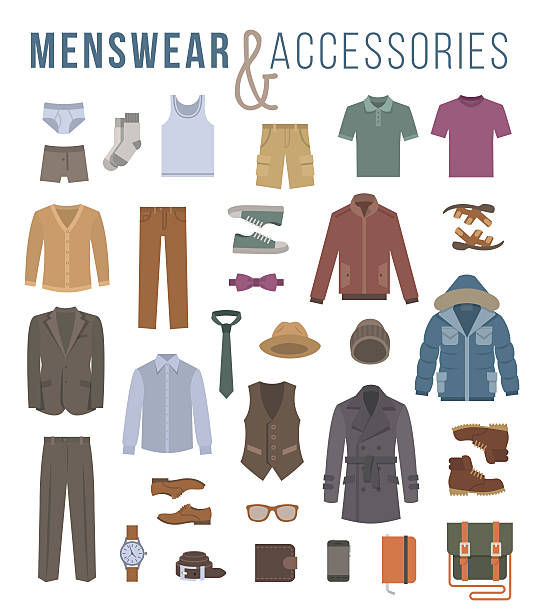 men fashion clothes and accessories flat vector icons - shoes fashion stock illustrations, clip art, cartoons, & icons