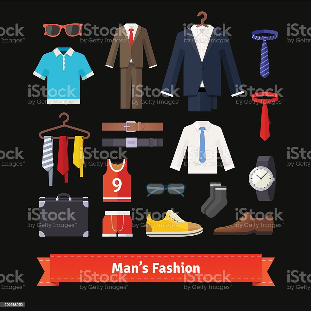 Men fashion colourful flat icon set vector art illustration