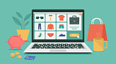 istock men fashion products on e-shop with icons and goods 1272804031
