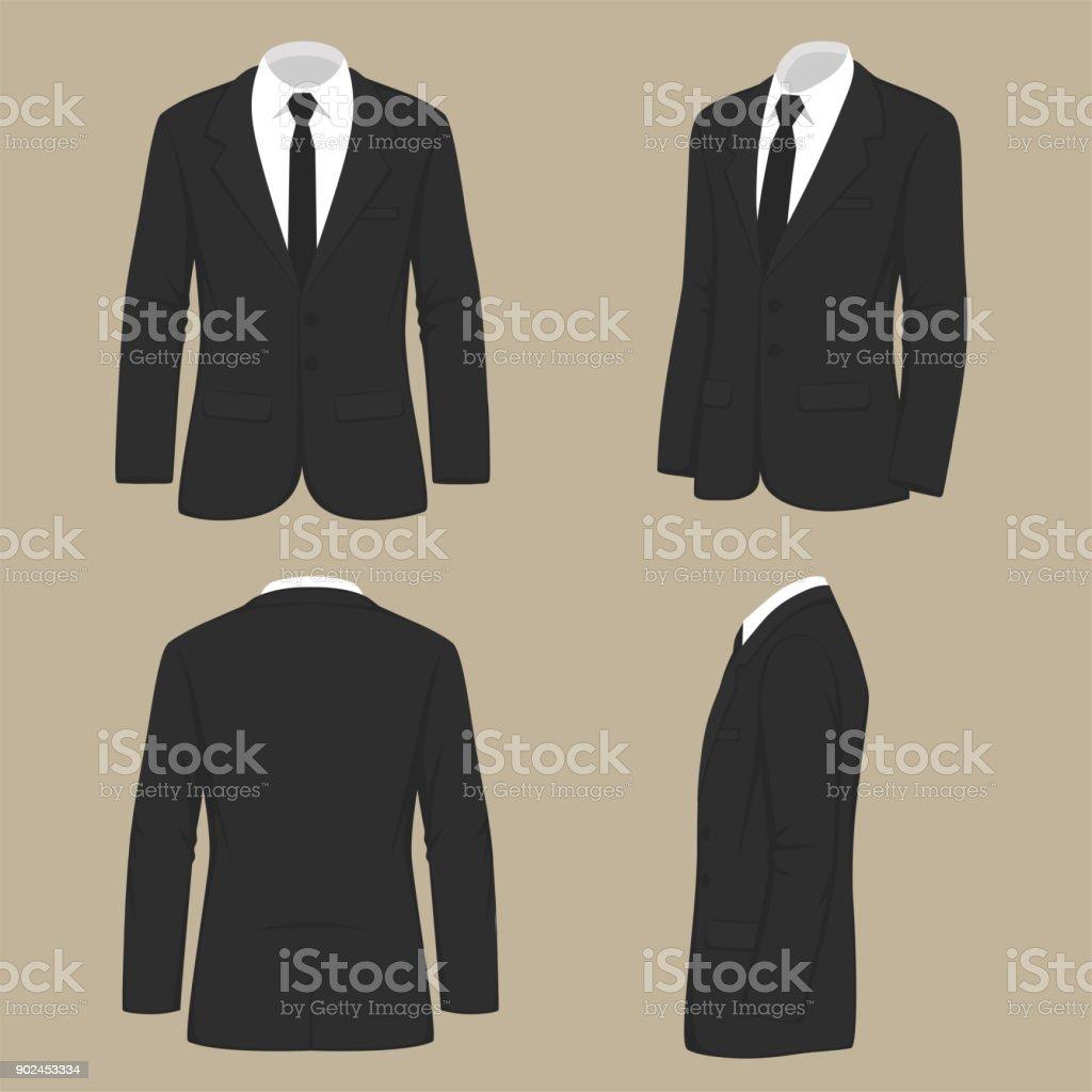 Herrenmode, Anzug uniform, Rückseite Blick auf Jacke – Vektorgrafik