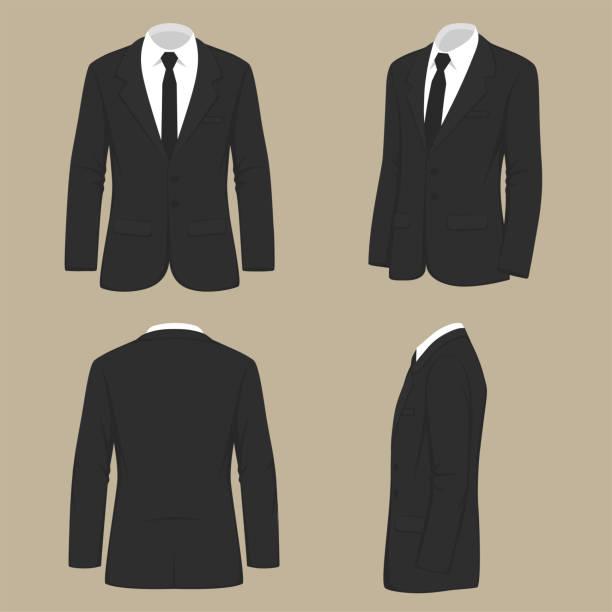 stockillustraties, clipart, cartoons en iconen met mannen mode, pak uniforme, achterzijde uitzicht op jas - pak