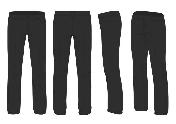 ilustrações, clipart, desenhos animados e ícones de moda masculina, terno visão uniforme, lado traseiro das calças - calça comprida