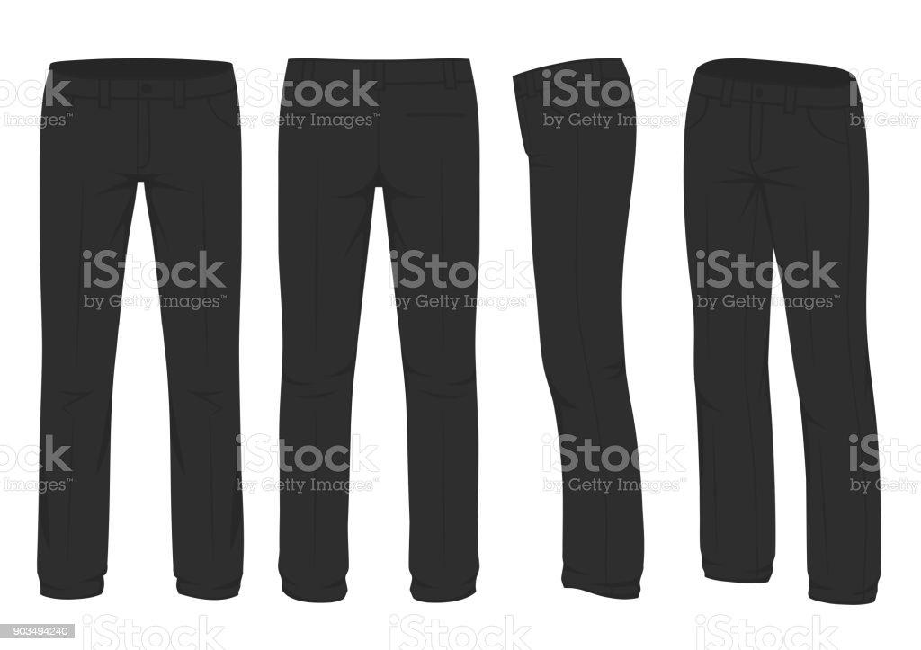 moda masculina, terno visão uniforme, lado traseiro das calças - ilustração de arte em vetor