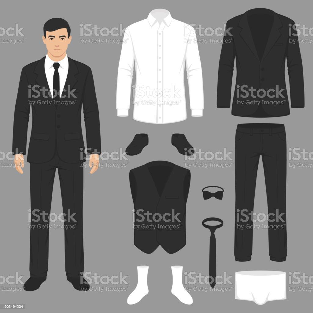 men fashion, suit uniform, jacket, pants, shirt and shoes isolated vector art illustration