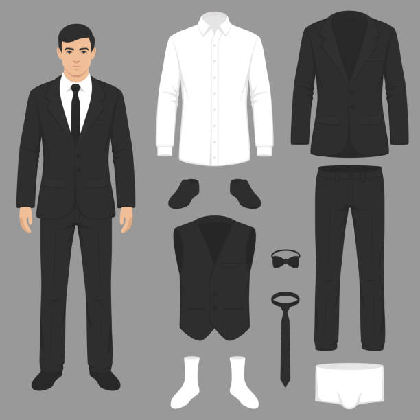 men fashion, suit uniform, jacket, pants, shirt and shoes isolated vector illustration of a men fashion, suit uniform, jacket, pants, shirt and shoes isolated tuxedo stock illustrations