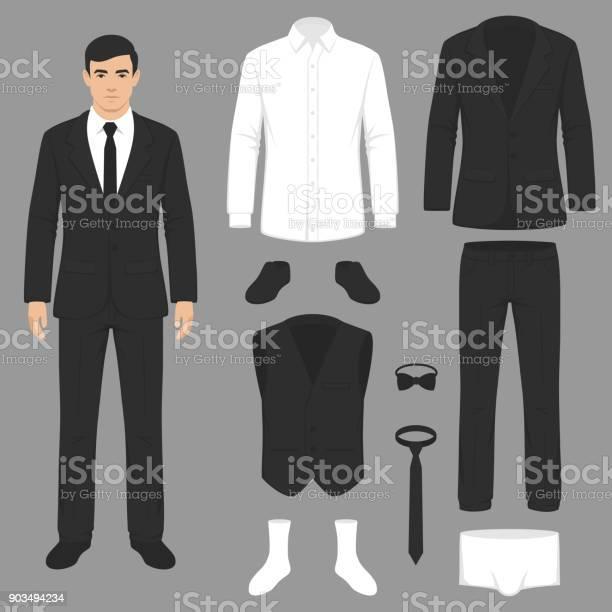 Mode För Män Kostym Uniform Jacka Byxor Skjorta Och Skor Isolerade-vektorgrafik och fler bilder på Affärsman