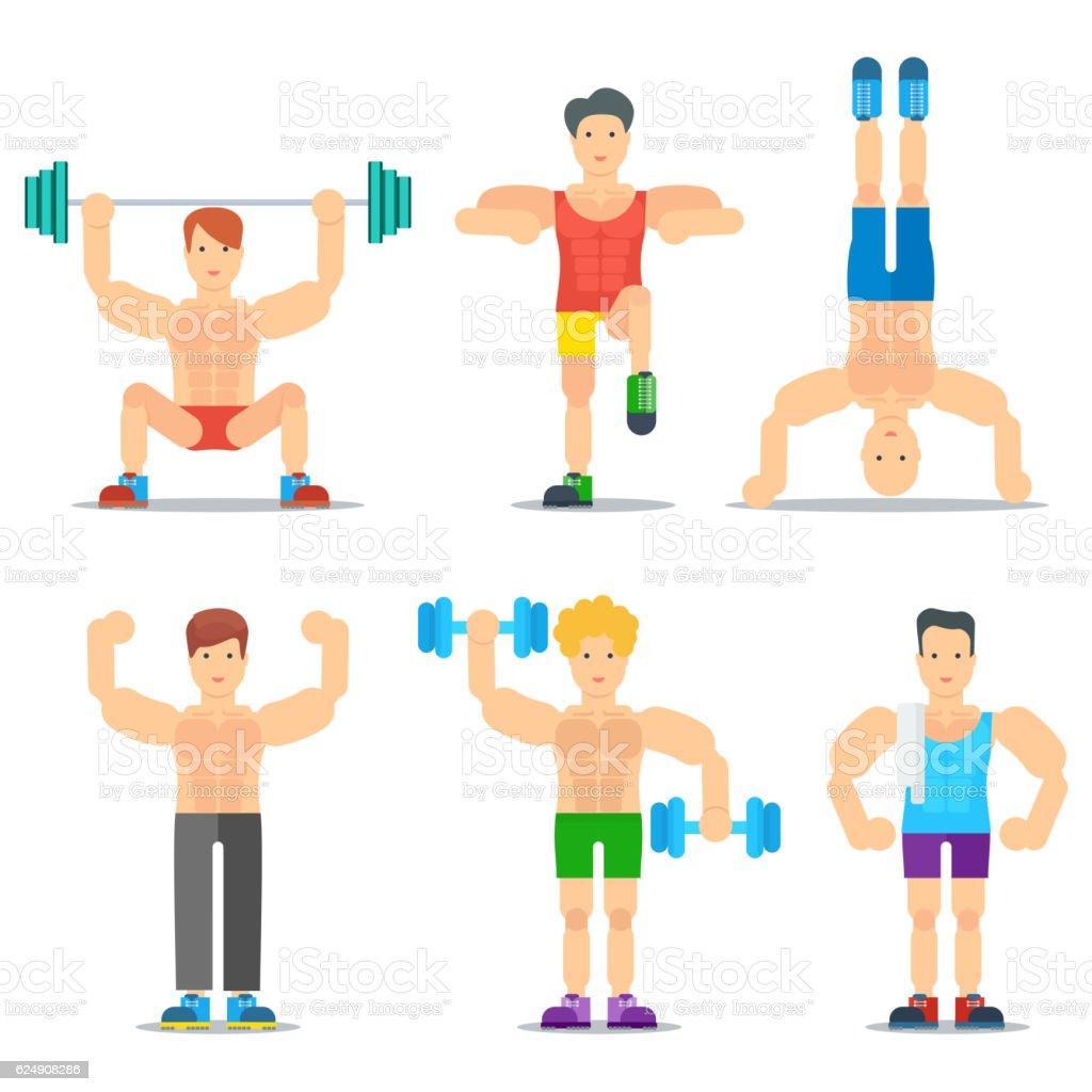 Men fitness cartoon vector icons collection stock vector - Fitness cartoon pics ...