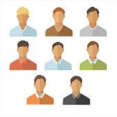 Men flat icons set. Young man portrait collection