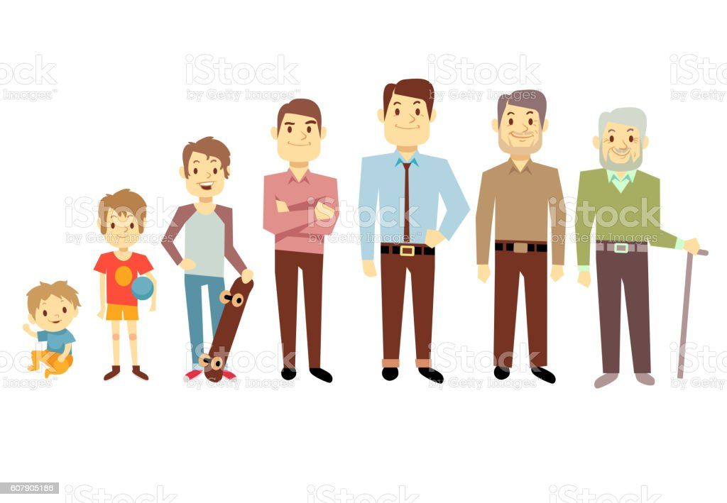 Men generation at different ages from infant baby to senior vector art illustration
