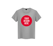 Men gray T-shirt. Realistic mockup with brand text for advertising. Short sleeve T-shirt template on background.