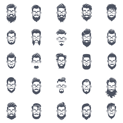 Men Hairstyle Icon Set
