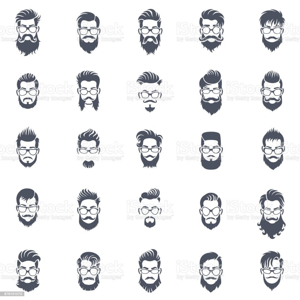 Men Hairstyle Icon Set vector art illustration