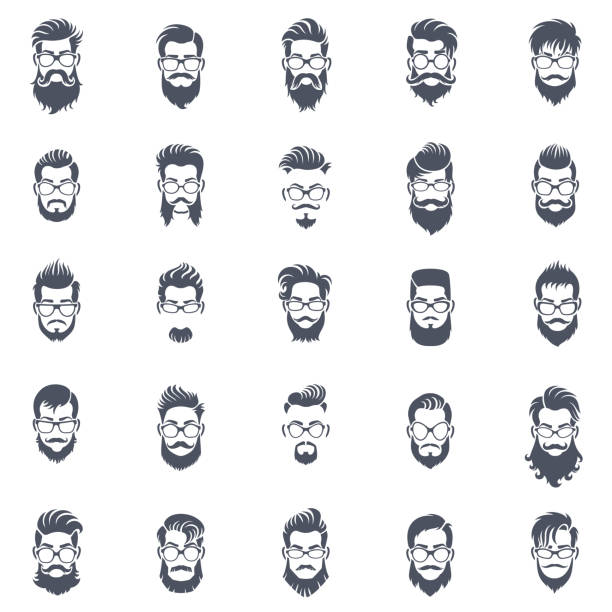 men hairstyle icon set - hairstyle stock illustrations, clip art, cartoons, & icons
