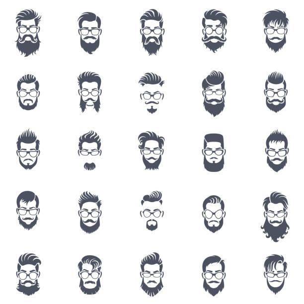 ilustraciones, imágenes clip art, dibujos animados e iconos de stock de conjunto de iconos de peinado de los hombres - peinado