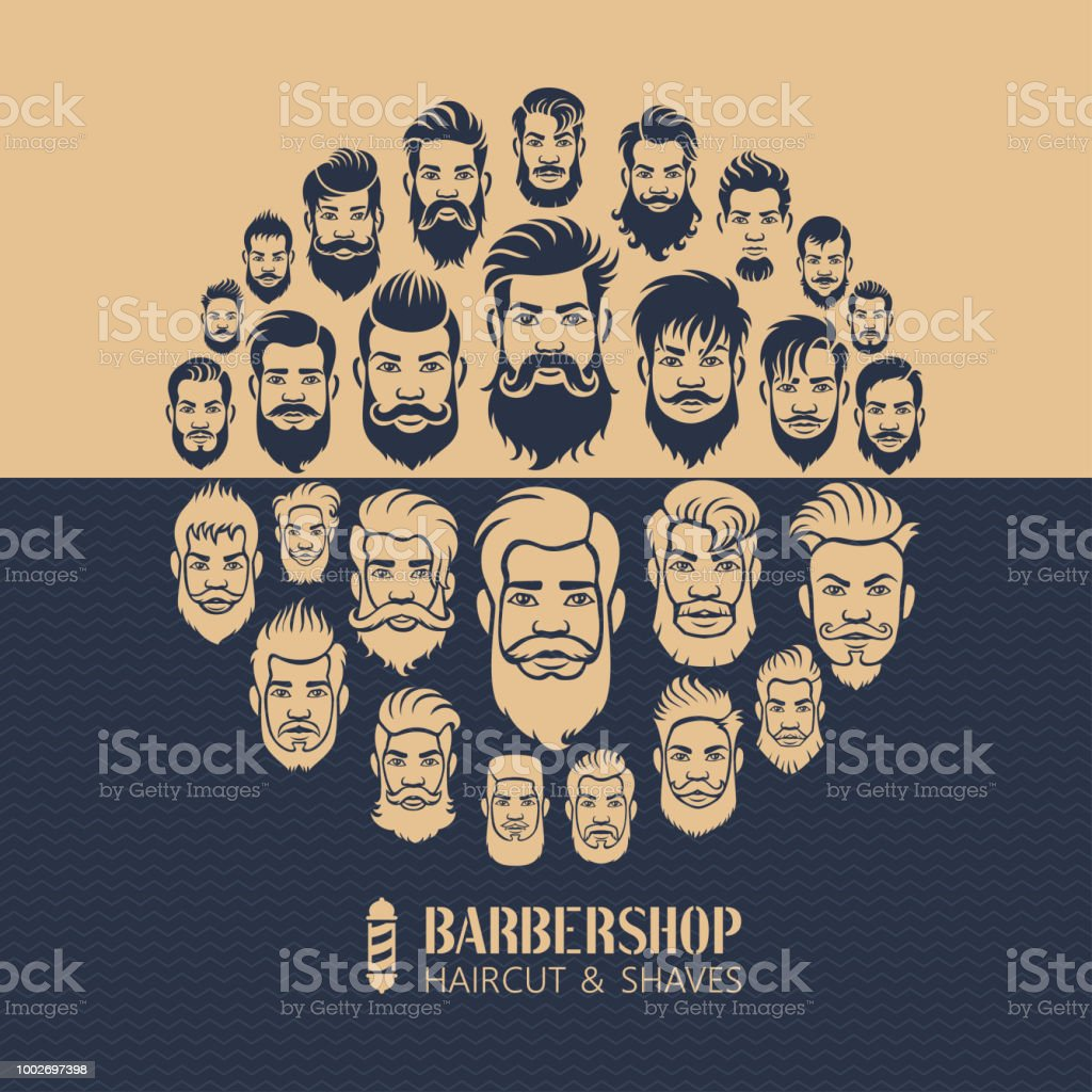 Men Hairstyle Montage vector art illustration