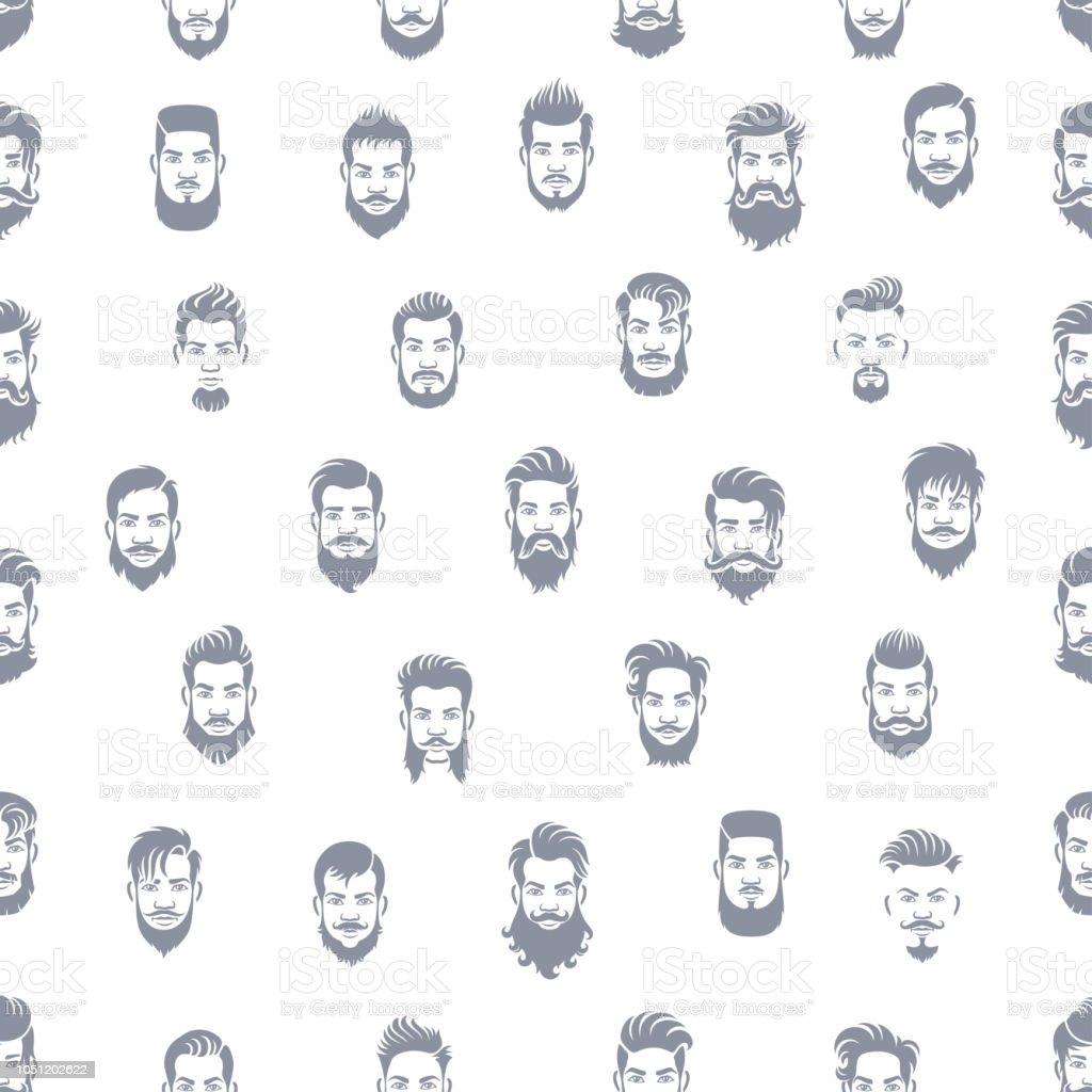 Men Hairstyle Seamless Pattern vector art illustration