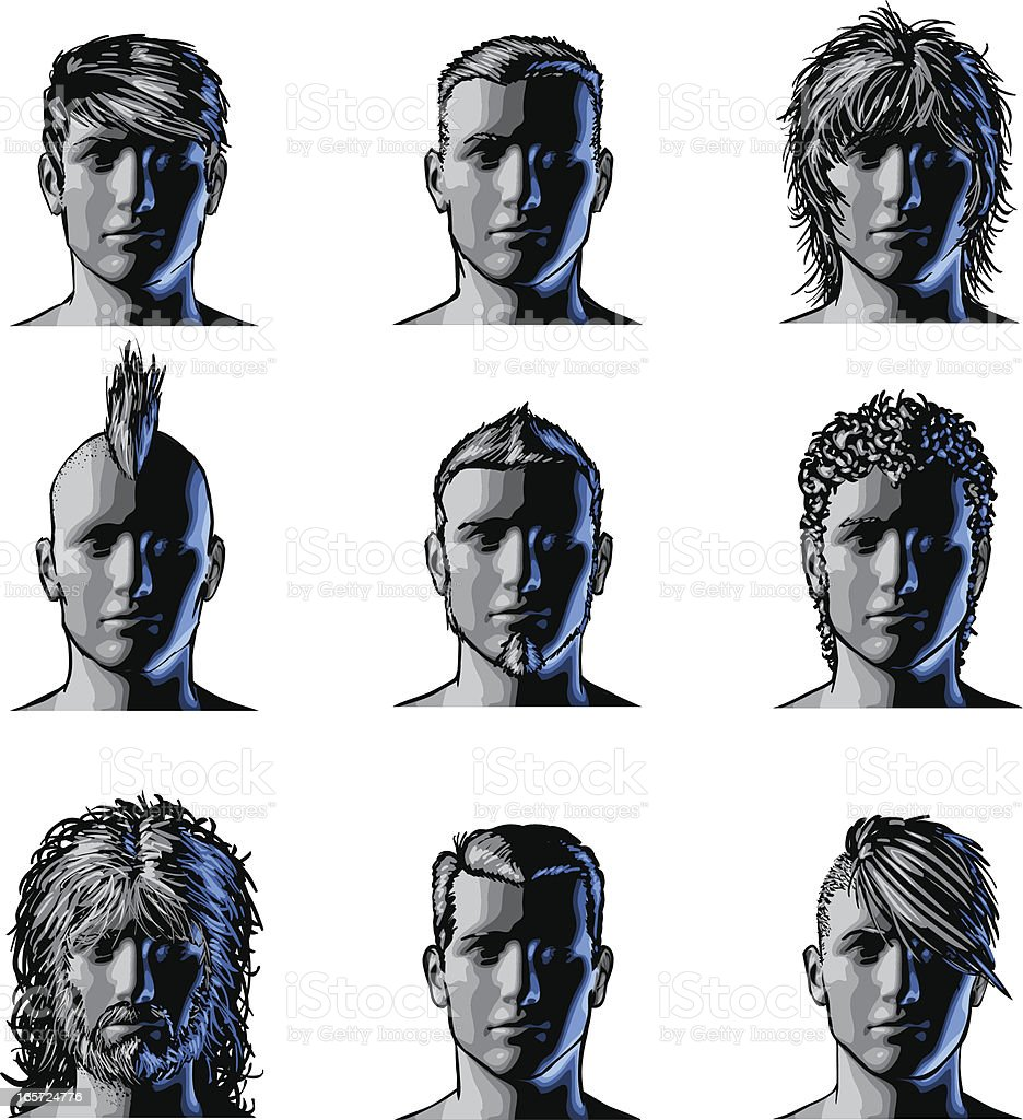 Men Hairstyle vector art illustration