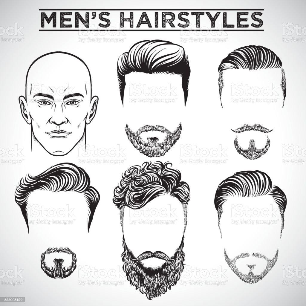 Men Hairstyles Stock Vector Art IStock - Hairstyle barbershop indonesia