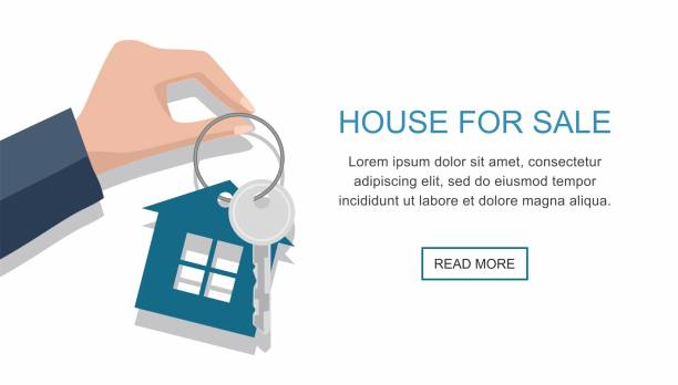 Men hand holding key with house. Vector web banner Hand with a house key isolated on white background. Vector web banner house key stock illustrations