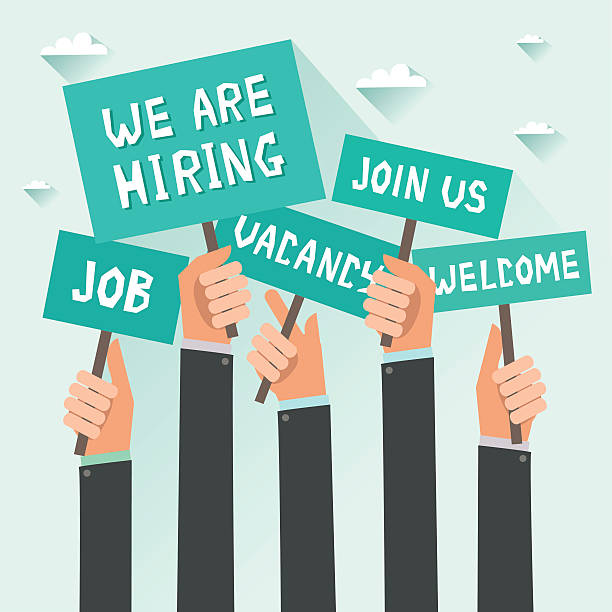 Men hands holding signs with Vacancy, Job, We are hiring Men hands holding signs with text Vacancy, Job, We are hiring, Join us, Welcome. Vector colorful illustration in flat design recruiter stock illustrations