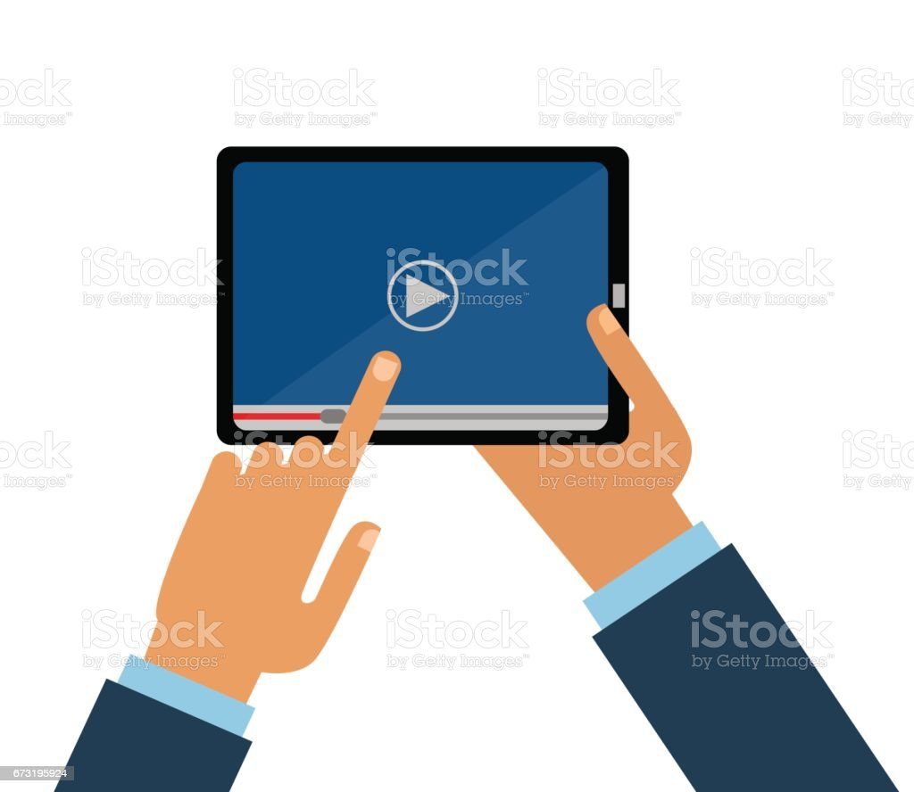 royalty free man holding smartphone in hand and watching movie video rh istockphoto com