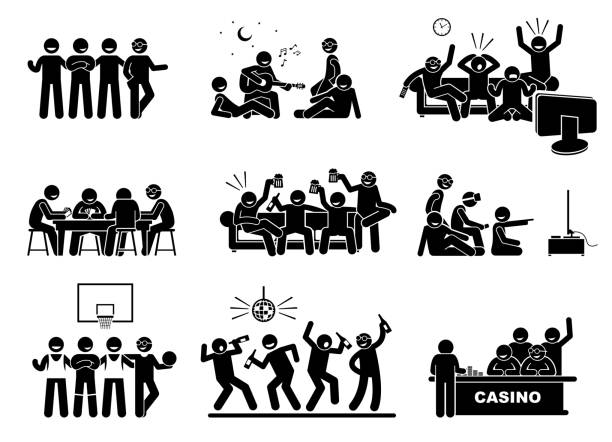 Men hanging out with a group of best friends together. The friendship is good and happy. They are playing guitar, watching tv, drinking beers, playing video games, basketball, dancing, and gambling. watching tv stock illustrations