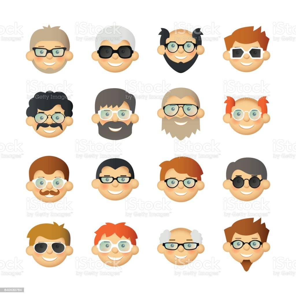 Men head avatar icon set with beards, mustaches, glasses and rosy cheeks vector art illustration