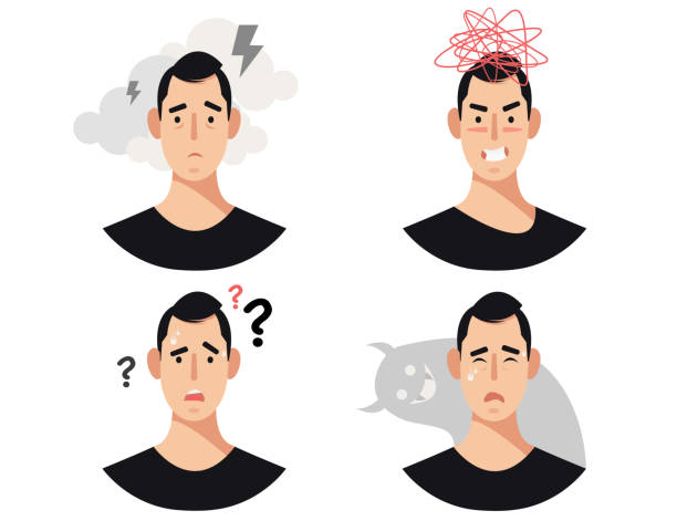Men head with mental illness, disorders, impairments, psychiatric or psychological problems. Men head with mental illness, disorders, impairments, psychiatric or psychological problems. frustration stock illustrations