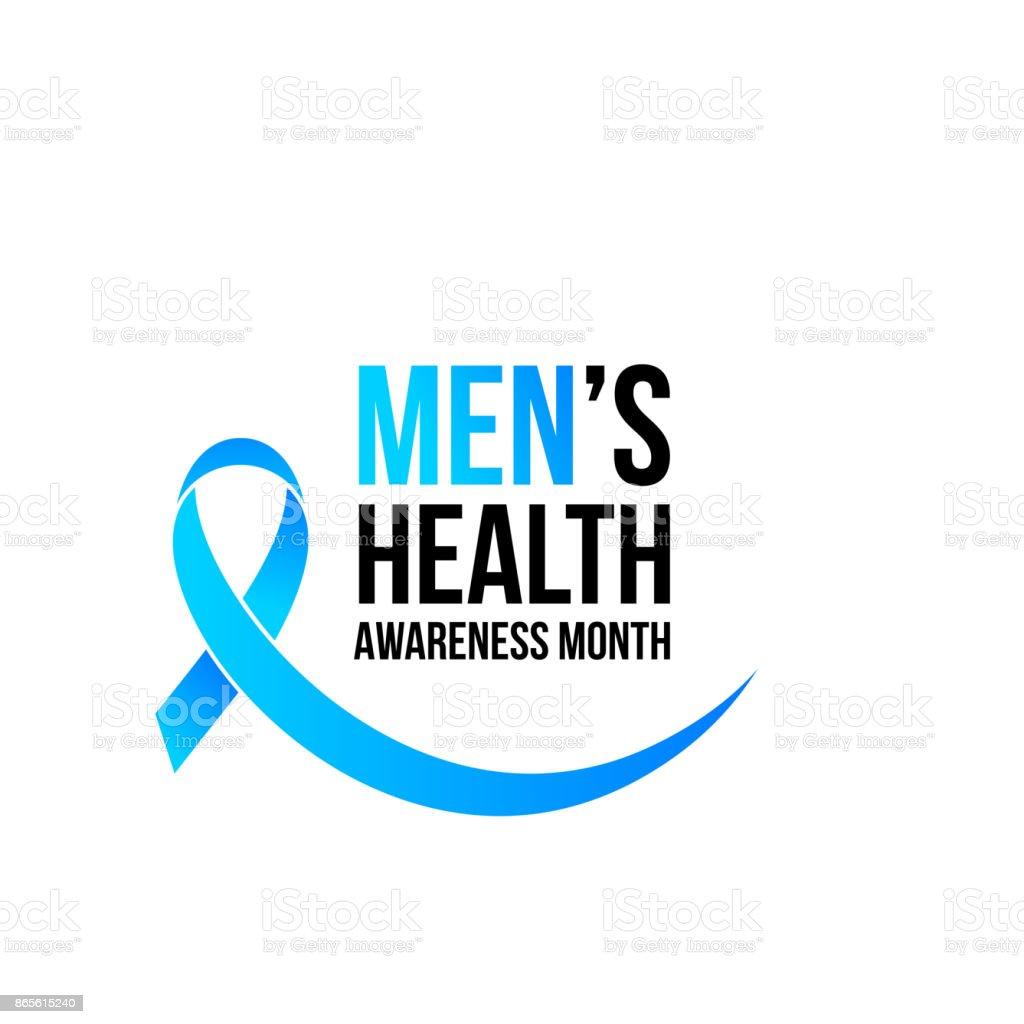 Men health man prostate cancer awareness November month vector blue ribbon vector art illustration