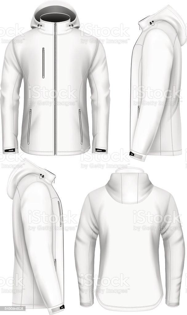 Men hooded softshell jacket design template vector art illustration
